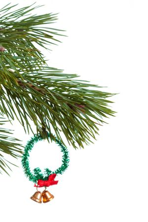 Christmas fir with decoration isolated photo
