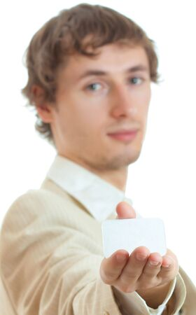 Man holding blank card for adverise isolated photo
