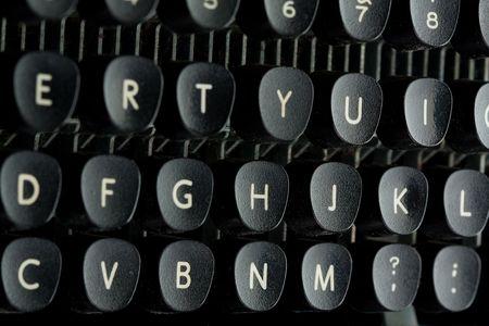 typebar: Old typewriter keyboard close up Stock Photo