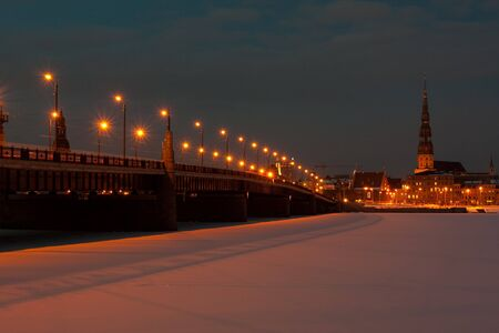 Bridge at night in winter photo
