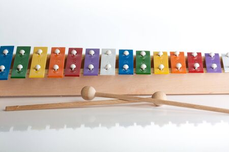 Xylophone in multi colours isolated on white