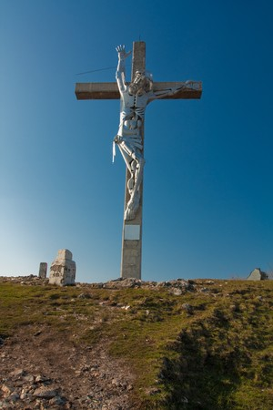 jezus: Jezus on cross on sky background