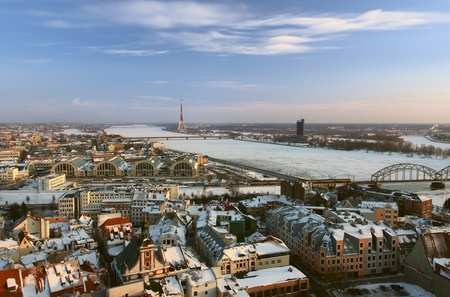 Old Riga view in winter on sunset