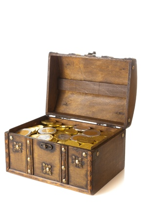 Open box full with gold euro money photo
