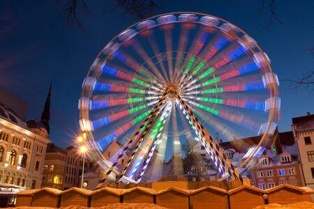 wheel spin: Ferris wheel in Riga Latvia