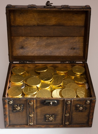Open box full with gold euro money Stock Photo - 9692376