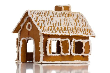 Gingerbread house on white isolated