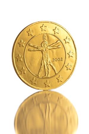 Euro coin on white background macro close up photo