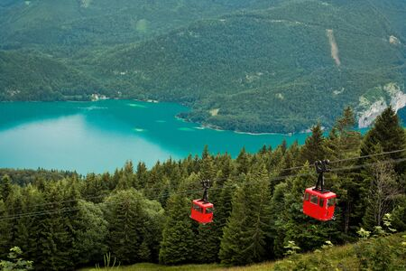 View from Zwolferhorn on Wolfgangsee with cabel car in Austria