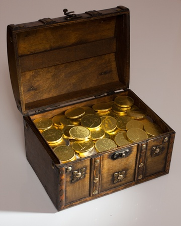gold and silver coins: Open box full with gold euro money