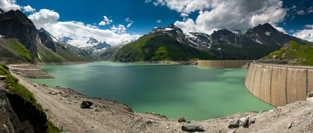Kaprun Dam, lake and Alps in Austria