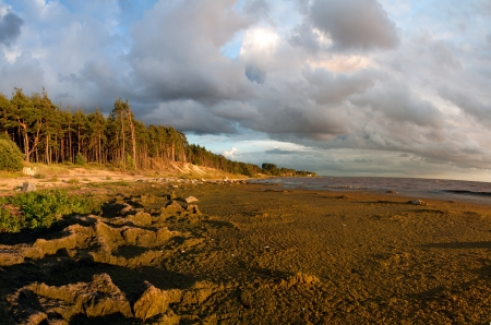 Cloudy view over Baltic sea with stones photo