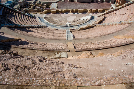 Old Amphitheater ruins in Spain Stock Photo