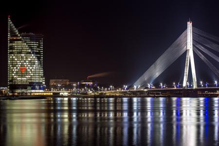 cable bridge: River Daugava, cable bridge and angel in Latvia