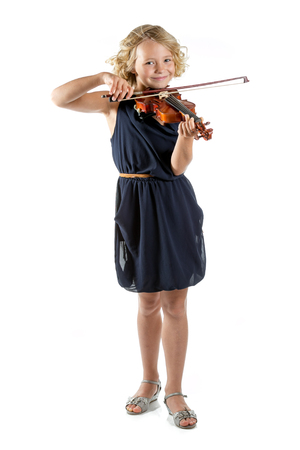 Girl playing a violin isolated on white background