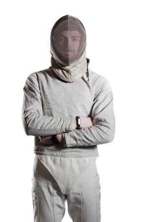 swordsman: Swordsman emotion isolated on white background Stock Photo