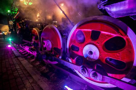 Soviet locomotive train colored at night Stock Photo