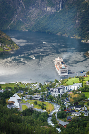 View on Geiranger city in Norway and fjords