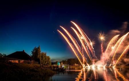 Firework in Adazi over the river at night Standard-Bild
