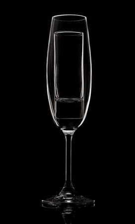 Champagne glass on black background in studio Stock Photo