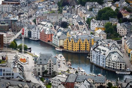 Alesund city landscape in Norway