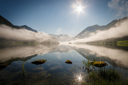 Lake in Norway with for and trees Standard-Bild
