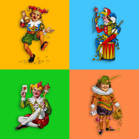 Four card jokers in colorful squares