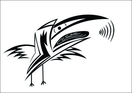 tiring: The abstract crow on a white background, croaks, a sound
