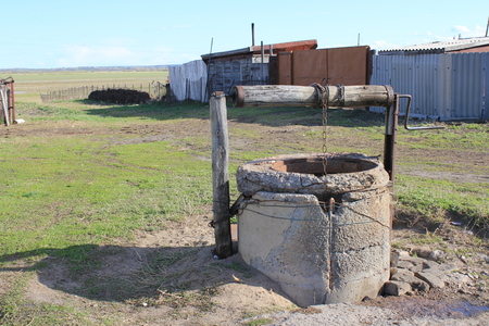 Basis: Old well with the destroyed basis and cracks