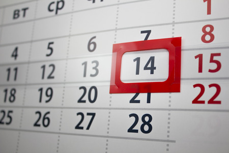 allocated: calendar with the allocated number in a red frame Stock Photo