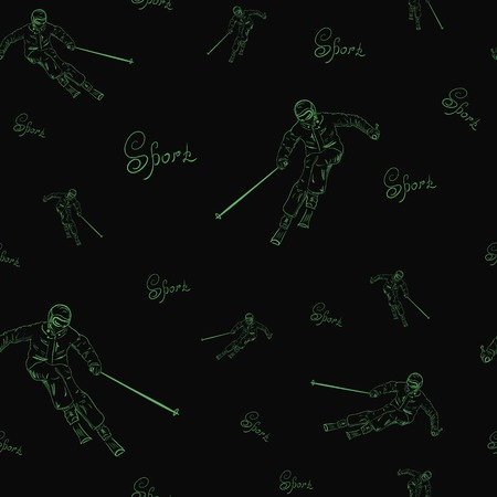 maneuvering: Seamless texture of the skier and inscription sports on a black background