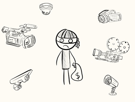 The robber under video cameras  Vector
