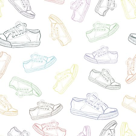 Seamless texture with sneakers  Vector