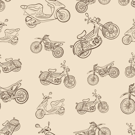 a two wheeled vehicle: Seamless texture a vintage with mopeds
