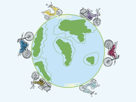 drive around the world: Mopeds and scooters go round the earth Illustration