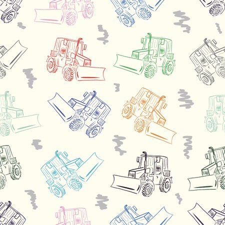 Seamless texture with the color copied tractor Vector