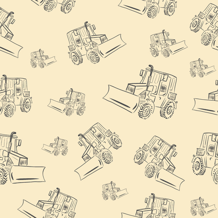 Seamless texture with a gray tractor on a brown background Vector