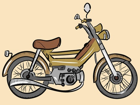 outdated: Outdated model of a moped painted in a color retro Illustration