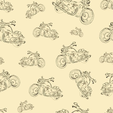 tire cover: Seamless texture with motorcycles in a retro style Illustration