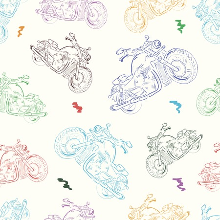Seamless texture with color identical motorcycles in a disorder Vector