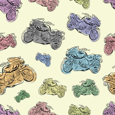 tire cover: Seamless texture with color identical motorcycles in a disorder