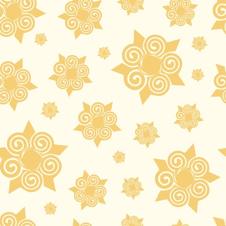 invented: Seamless texture with yellow abstract elements snowflakes