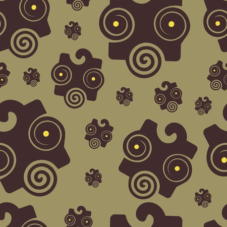 gloomy: Seamless texture with an abstract dark mask on a brown background Illustration