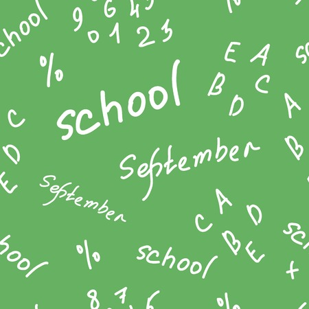 inscriptions: Seamless texture with school inscriptions, letters and figures Illustration