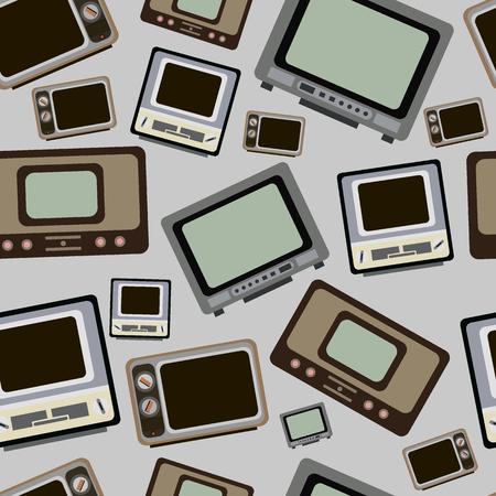 kippschalter: Nahtlose Textur mit alten Vintage-Retro-TVs