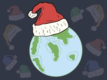 madre tierra: Madre Tierra con una gorra festivo contra tocados transparentes