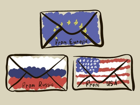 The sketch of envelopes with letters for the USA, Russia and Europe 向量圖像