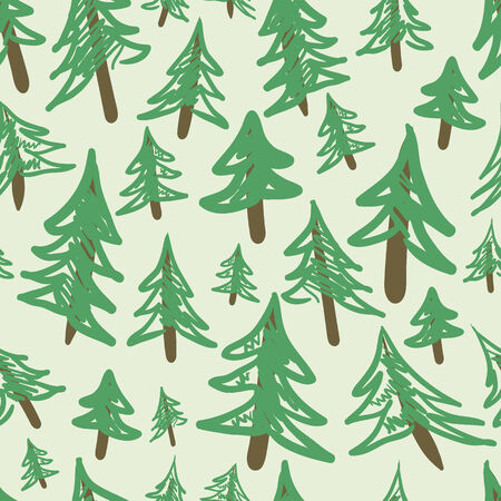firtrees: Fir-trees seamless texture on a green background Illustration