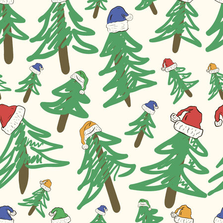 firtrees: Fir-trees in Christmas color hats seamless texture Illustration