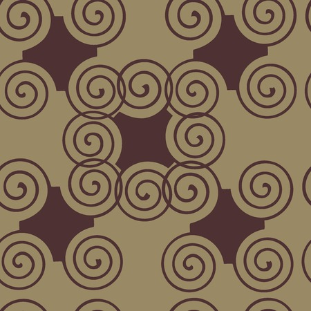 roundish: Seamless texture with abstract curls and rhombuses in style a vintage
